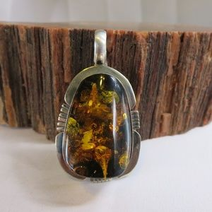 Sterling Silver Amber Andy Marion Navajo Pendant